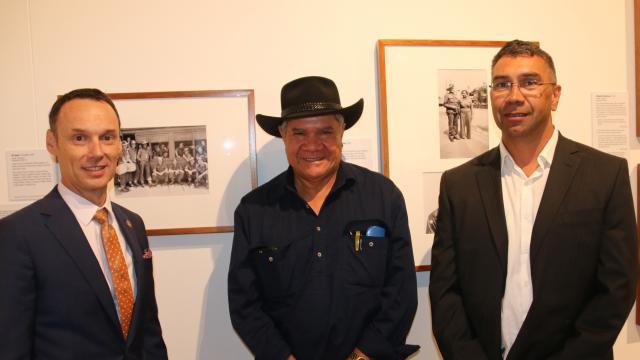 (l to r) Mr David Fricker – Director General NAA, Professor Mick Dodson – CI SOC. ANU, Mr Paul House – Ngambri custodian.