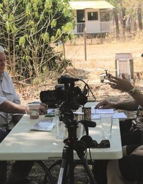 Vietnam veteran Mick Markham being interviewed by Michael Dodson and Allison Cadzow for the Serving Our Country project at his home in Pine Creek, Northern Territory, 14 September 2015. Photograph by Craig Greene.
