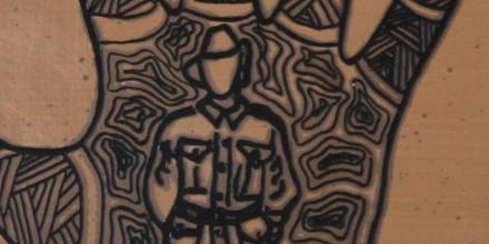 Detail from plaque 'Ngarrindjeri Anzacs', Raukkan Gallery, Artist: Kerry Giles.