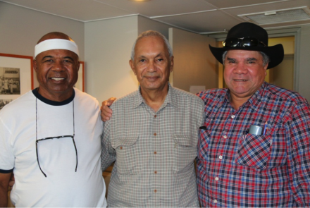 Patrick Mills, Les Boyd and Mick Dodson at the Cairns Yarn Up.
