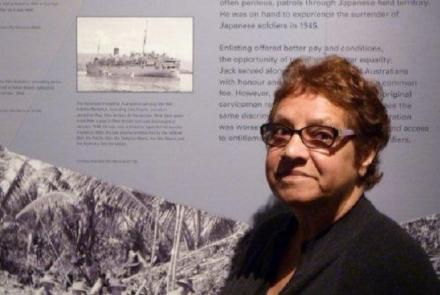 Vernice Gilles in front of the story about her Uncle Jack Coyne at the Western Australian Museum, Albany (Image: Craig Keesing)