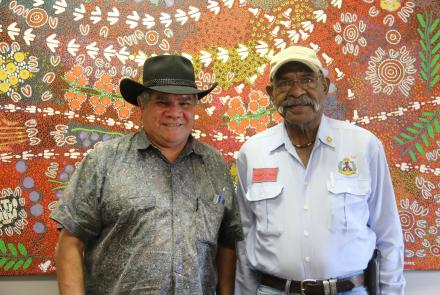 Mick Dodson and Francis Hayes at the Katherine Yarn Up, held at the Northern Australian Aboriginal Justice Agency, 2015. Francis's shirt commemorates his service (Image: Craig Greene).