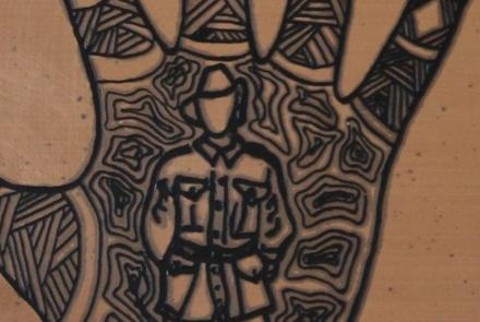 Detail from plaque 'Ngarrindjeri Anzacs', Raukkan Gallery, Artist: Kerry Giles.
