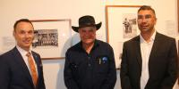 (l to r) Mr David Fricker – Director General NAA, Professor Mick Dodson – CI SOC. ANU, Mr Paul House – Ngambri custodian.