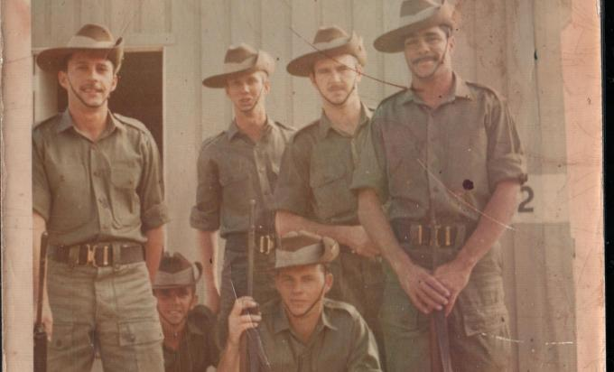 George Anderson and fellow recruits at basic training in Singleton NSW